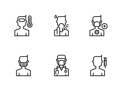 Coronavirus Patient Icon covid19 icon coronavirus icon icon outline icon line outline illustration icon set flat icon icon