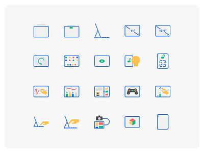 New Ipad Pro Icon Set illustration modern icon iconfinder flat icon icon set artist designer design drawing tablet flat outline apple ipad pro icon