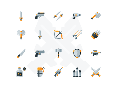 Flat Weapon Icon Set
