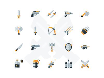 Flat Weapon Icon Set pubg fortnite war game weapon illustration icon set iconfinder icon flat icon