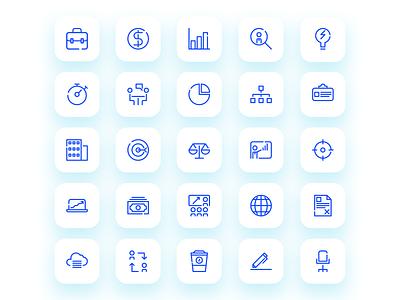 Business Icon Set modern app blue marketing business ui outline illustration icon set iconfinder icon flat icon