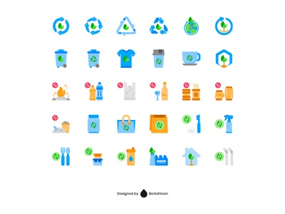 Zero Waste Icon Set