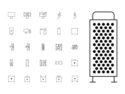 Mac Pro Icon Set xdr monitor imac computer macbook iconography icon design pixel perfect ui user interface design thin pictogram set cheese grater apple pro mac outline icon