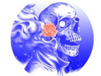 Skull, flower and smoke