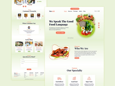 Restaurant Website UI Design clean ui simple clean ui restaurant branding website design restaurant ui design restaurant ui design website template branding