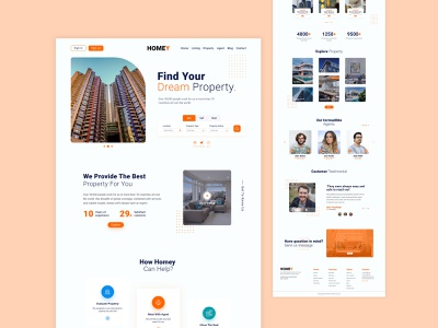Real estate website ui template design modern real estate branding real estate agency realestate application ui ui clean ui website template ui design