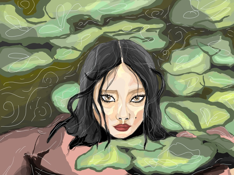 Lake nepal paint character girl art girl painting lake artist digital artist illustration art digital art digital painting painting illustration