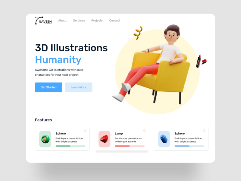 Landing Page Concept 3d illustration web deisgn branding mobile app website design ui design uidesign