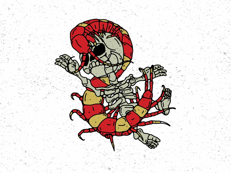 cintipede of skull centipede skull art graphic  design vector illustration