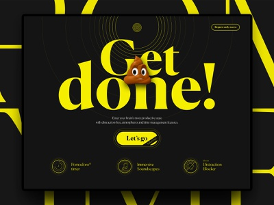 Landing Page Concept - Get 💩done! uiux ui concept website concept editorial typography animoji website homepage webdesign app grid ux landing landing page product design type trends minimal icons