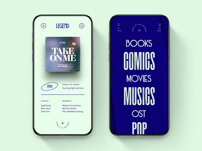 Legend — Mobile App Concept 💽 interaction editorial ux ui app mobile app design app design mobile design mobile app mobile ui mobile product design concept clean ui interface menu screens application typography art deco