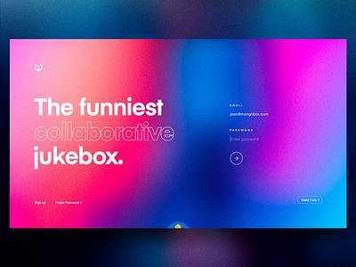 Mongobox – Login & Onboarding 🚀 interaction website landing colors mobile player music jukebox sound signin mainpage spotify blur grid app web ux interface concept ui
