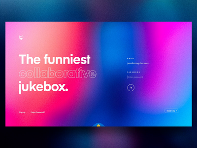 Mongobox – Login & Onboarding 🚀 interaction website landing colors mobile player music jukebox sound signin mainpage spotify blur grid app web ux interface concept ui