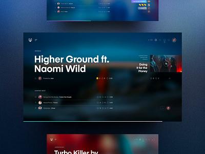 Mongobox – Home 🎧 gradient color grid colors blurred spotify sound interaction desktop website homepage player music blur background gradient blur web ux interface concept ui