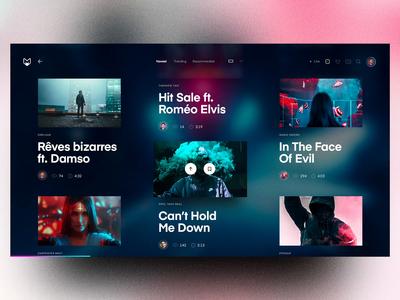 Mongobox – Videos 🎞 responsive mobile sound jukebox spotify blurry website webdesign avatars vote videos list blur grid app web ux interface concept ui