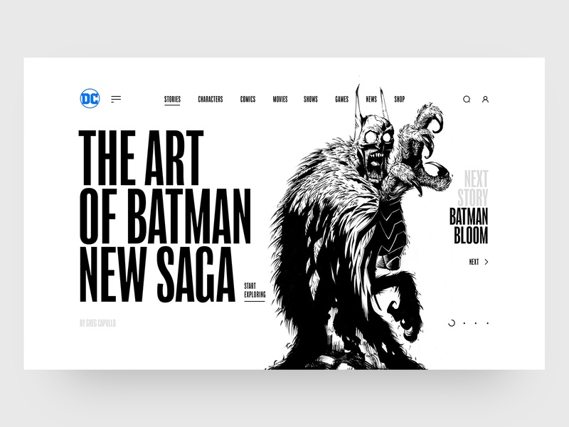 DC Concept – Slider III app web interface concept typography black comics ux ui batman