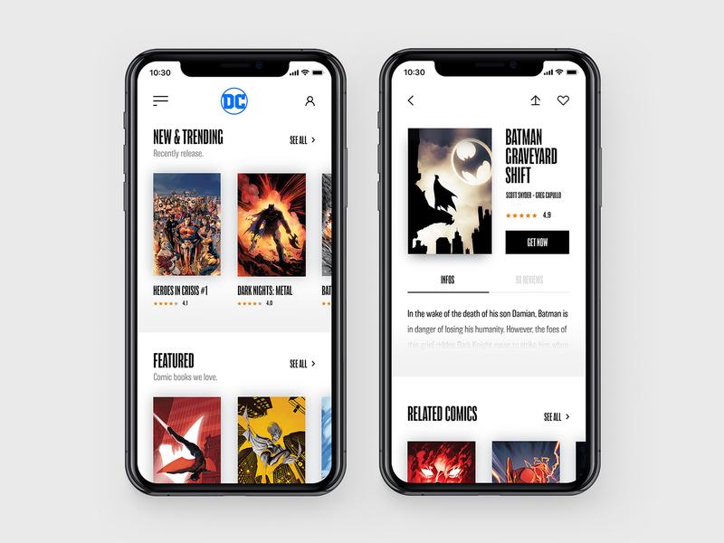Comic Books Store Concept II batman ui ux comics black typography concept interface web app