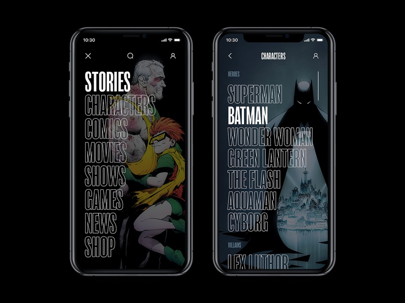 DC Concept App – Main menus app web interface concept typography black comics ux ui batman