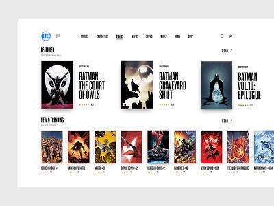 Comic Books Store Concept Desktop store app web interface concept typography black comics ux ui batman