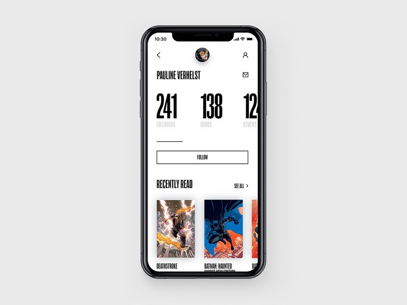 DC Concept – Profile page app web interface concept typography black comics ux ui batman