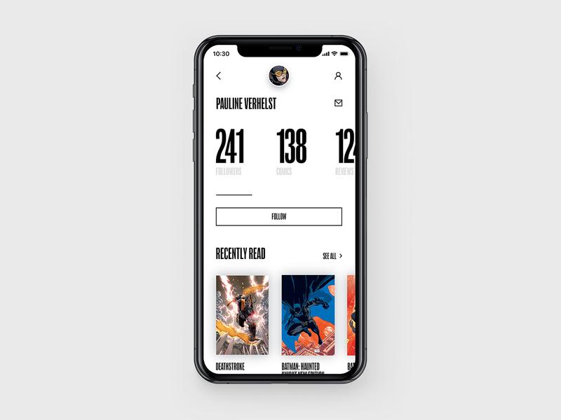DC Concept – Profile page app web interface concept typography black comics ux ui batman