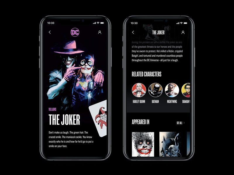 DC Concept App – Stories app web interface concept typography black comics ux ui batman