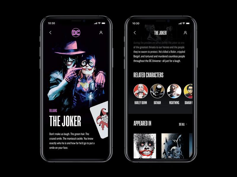DC Concept App – Stories app web interface concept typography black comics ux ui batman