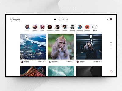Instagram Desktop Homepage 📷 instagram insta post ig photos stories menu redesign concept design interface web ux ui grid