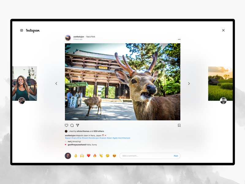 Instagram Desktop – Post ✨ menu grid ui ux web interface design concept redesign stories photos ig post insta instagram
