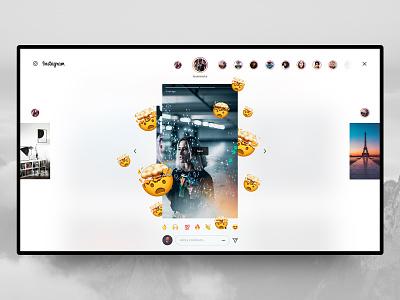 Instagram Desktop – Stories 🤯 story instagram insta post ig photos stories redesign concept design interface web ux ui grid menu