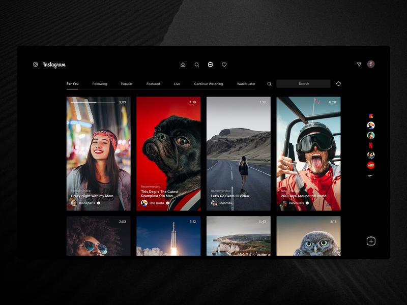 Instagram Desktop – IGTV 📺 grid ui ux web interface design concept redesign photos ig post insta instagram igtv tv television video youtube