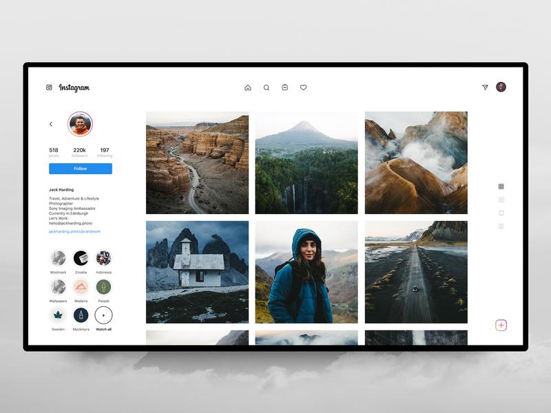 Instagram Desktop – Profile 🙃 profile story instagram insta post ig photos stories redesign concept design interface web ux ui grid discover
