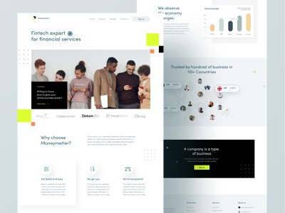Fintech Landing page UI/UX Design money management moneyapp money app fintech logo fintech branding finance app ui design uiux illustration fintech app uidesign app real estate homepage clean ui food minimal design ui clean design