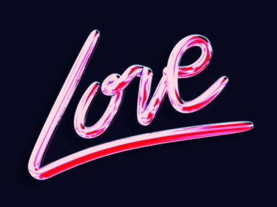 Love vintage retro highlights glossy render 3d script lettering typography type love