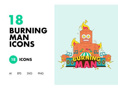 18 Burning Man Icons characters human stickers graphics type design icon lettering vector typography character illustration