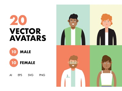 20 Vector Avatars human avatar style ux ui graphics stickers design icon characters vector character illustration
