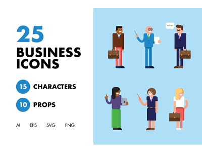 25 Business Icons stickers minimal ios website graphics flat web app branding ux ui icon design logo characters character illustration