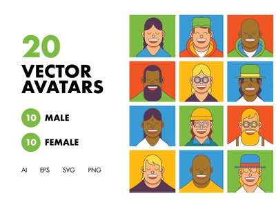 20 Vector Avatars stickers web app branding ux ui graphics design icon characters vector character illustration