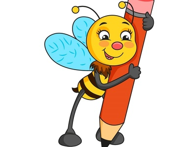 bee with pencil
