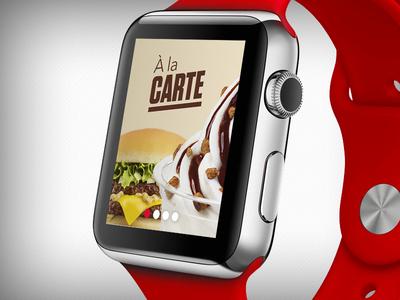 Octavdesign Food Applewatch burger select red flat slide menu food ios app watch apple