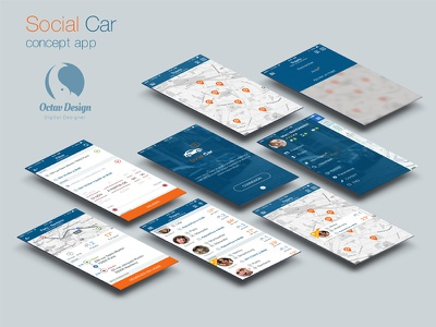 Socialcar Octavdesign Concept Sketch concept sketch tracking carpooling map car iphone ios menu app flat