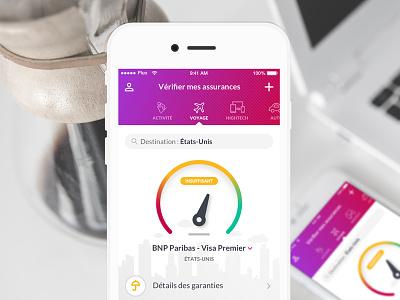 Assurance app charts iphone ui material icons ux menu select ios app gauge