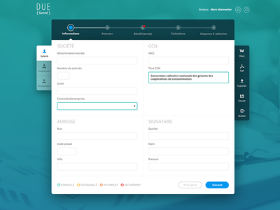 Form Santé step timeline desktop ux ui webdesign flat material dashboard admin form