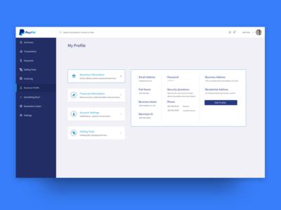 PayPal Profile Screen
