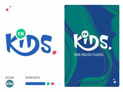 ENKIDS rebranding / redesign logo school logo logotype rebranding kids english school redesign branding logo edtech startup