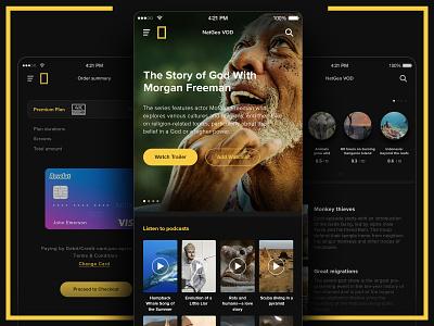 National Geographic VOD morgan freeman podcasts ondemand vod natgeo national geographic 2d ui ux mobile mobile design design app mobile app