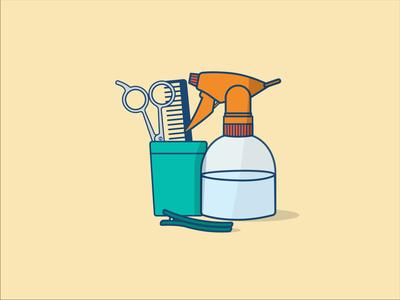 Hairdresser tools illustration digital illustration design hairdressing scissors hairdresser illustration art colourful illustrator illustration