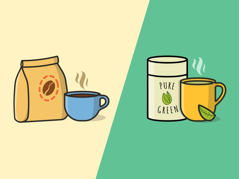 Coffee or tea? illustrator cc vectorart green coffee bean illustration art vector illustrator vector art green tea tea coffee cup coffee illustrator illustration