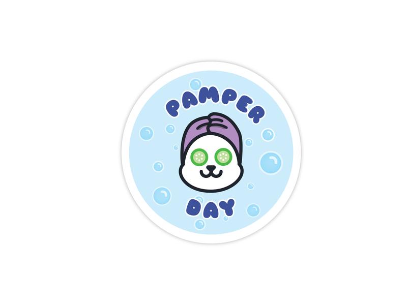Pamper day green purple blue animal sticker cute sticker sticker design cute art cute animal cute panda illustration art illustrator illustrator cc vector design illustration