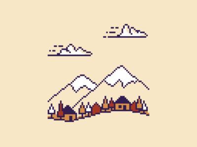 Pixel mountain village